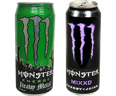 Monster Energy Drink Cans Heavy Metal & Mixxd FULL CANS Great Gift     2 Pack