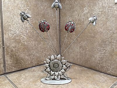 ladybug bumble bee sunflower pewter 5 card note holder base 3.5x2' 8.5' high