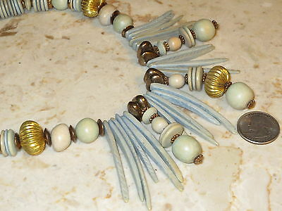 Tribal Powder Blue Wood & Brass Bead Bib Necklace Made in the Philippines 17""