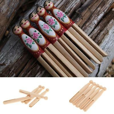10pcs Wood Doll Peg Clothespins Wooden DIY Print Kids Montessori Toy