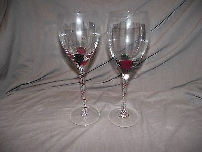 Set of 2 Pier 1 Red and Green Swirl Wine Glass Goblets