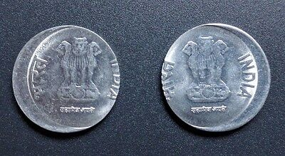 INDIA - PAIR of 1 RE ERROR COINS WITH DIFFERENT OFF CENTERS