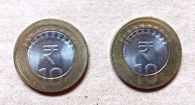 INDIA - LOT OF 2 COINS of 10 RUPEE - BI-METAL ERROR COIN - OFF CENTERS