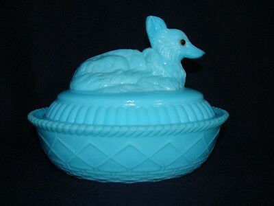Westmoreland Glass Antique Blue Fox / Dog Covered Candy Dish