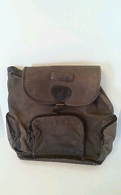VINTAGE Brown Leather Backpack Bookbag Hiking Bag  Back to School