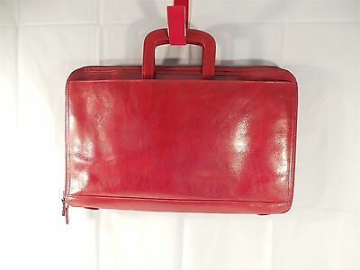Wilsons Leather Pelle Studio Italian Leather Red Light Weight Brief Case