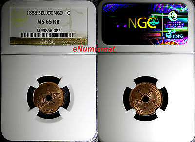 Congo Free State Leopold II 1888 1 Centime NGC MS65 RB RED BROWN KM# 1