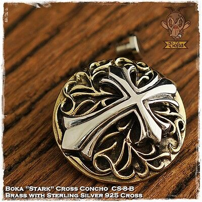 Boka Stark Cross Brass Concho Sterling Silver 925 Cross Biker Trucker Wallet