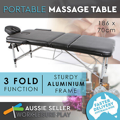 Black Aluminium Portable Massage Table 3 Fold Beauty Therapy Bed Chair Waxing