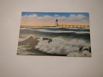 Manistee, Michigan postcard - Lighthouse in storm