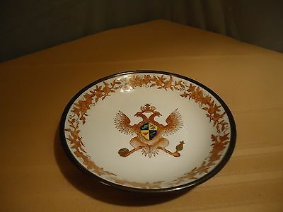 Japanese ACF Porcelain Ware Bowl Double-headed Eagle Coat of Arms Pewter Encased