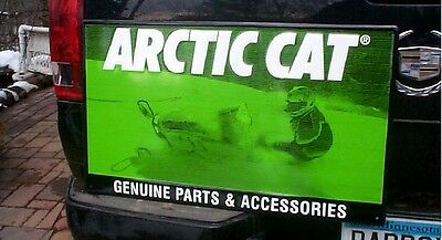Vintage Metal Arctic Cat Snowmobile Outboard Gas Oil Sign 29inX18in