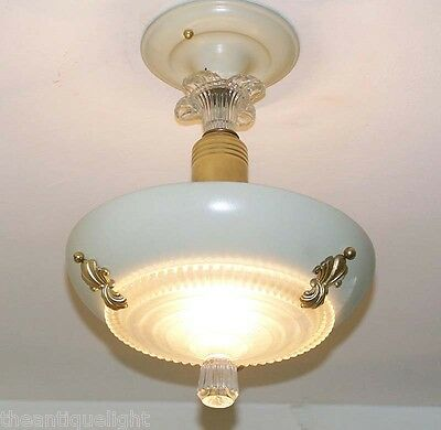 734 Vintage 30's 40s CEILING LIGHT lamp chandelier fixture glass shade beige
