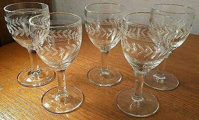 6 Anchor Hocking/Standard Glass 1940's Cut #401 Laurel W/Bands Sherry Glasses