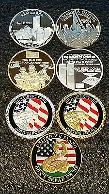 Superb Lot Commemorative Wtc Coins Silver & Gold Plated &enamelled