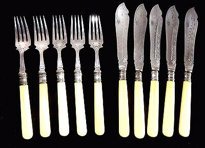 Circa 1880 10 Piece P. Ashberry & Sons Fish Set Silver Plate Sheffield England