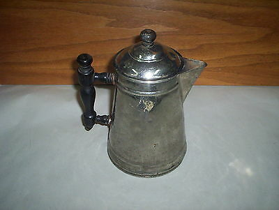 """Vintage Tin Plated on Copper Coffee Pot With Wooden Handle (8 1/2"""" Tall)"""