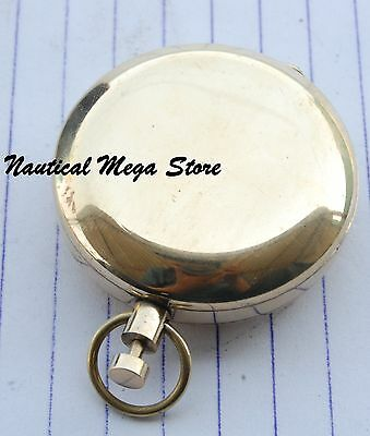 Vintage Solid Brass Good Quality Rose London Push Button Pocket Compass