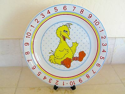 Child's Sesame Street Big Bird Plate Porcelain Numbers Counting Kid's Muppets