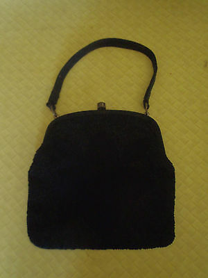 Vintage1950sBlack Bag with Beautiful Black Pattern on Front  g/cond