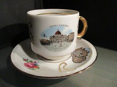 Collectible ROME ITALY cup saucer 50s 60s Gold trim souvenir WINTERLING GERMAN