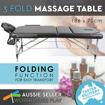 New Portable Aluminium Massage Bed Table 3 Fold Beauty Waxing Therapy Treatment