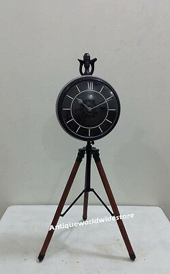 Contemporary Designer Clock On Tripod Desk Table Clock with Powder Coated Clock