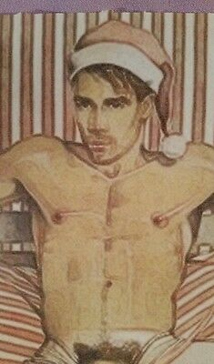 """ORIGINAL Nude Male Gay Interest Mixed Media Painting-""""Christmas Wrapping"""""""