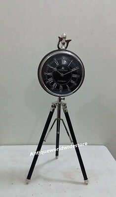 Vintage chrome Clock On Tripod Desk Table Copper Clock with black leather Clock