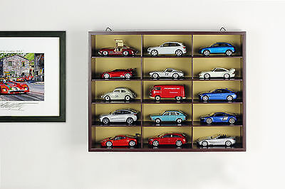 Quality Display cabinet/Wall showcase wooden for 15 Model cars brown 1:43 Atlas