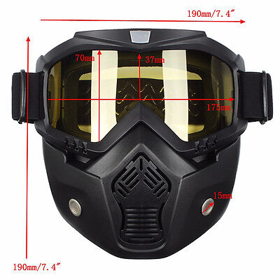 Yellow Lens Riding Detachable Modular Motorcycle Helmet Face Mask Shield Goggles