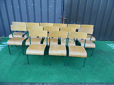 14 x Vintage Tubular Metal & Plywood Wooden Industrial Stacking School Chairs