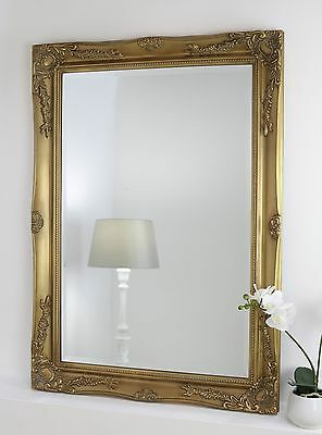 """Isabella Gold Shabby Chic Rectangle Antique Wall Mirror 42"""" x 30"""" Large"""