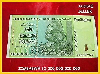 2 X 10 Trillion Zimbabwe Banknote Dollar Unc Real Paper Bank  Note Aa/2008 P88