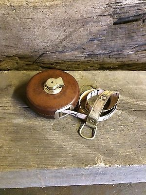 Vintage Old Leather And Brass Tape Measure By Treble