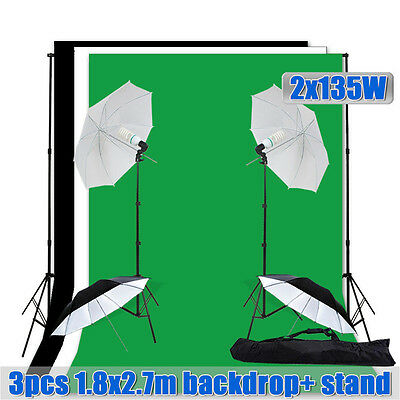 1620W Photo Studio Umbrella Continuous Light Stand 1.8x2.7m Muslin Background AU