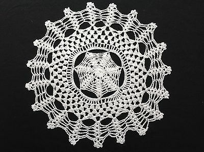 "Handmade 12"" 30cm white vintage doilie doily doiley crochet  lace  round"