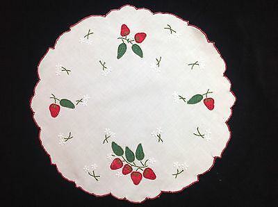 "vintage doilie crochet doilie 11"" 29cm white embroidery doily doiley strawberry"