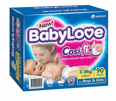 *BRAND NEW* Sealed & Boxed Babylove Cosifit Nappies Infant 3-8kg | BULK 90 PACK