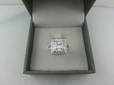 Wedding 5.50 Ct G Vvs2 Cushion Cut Diamond Ring 14 K White Gold New