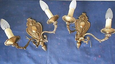PAIR Antique French Bronze  WALL Light SCONCES