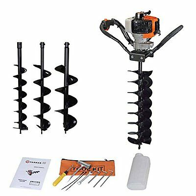 52Cc Petrol Earth Auger Fence Post Hole Borer + 3 Auger Bits + Extension Adaptor