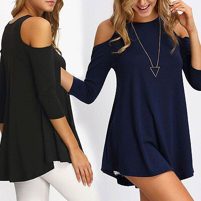 Ladies Off-shoulder Loose T Shirt Tops Women's Fashion Summer Casual Long Blouse