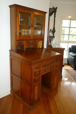 Antique Victorian Cedar Bookkeepers Writing Desk w Bookcase & 8 Drawers!