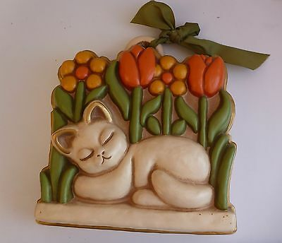 Vintage THUN Italy Cat & Tulips Ceramic Wall Hanging