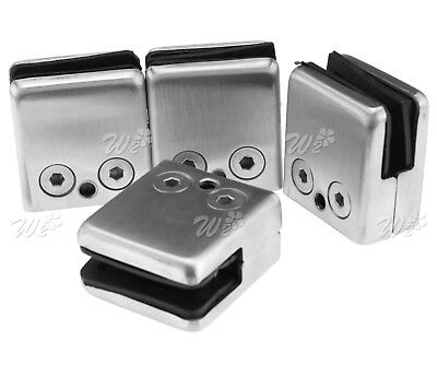 4 x Stainless Steel Glass Square Clamps Adaptor Clips For 8.5/10MM Window Glass