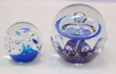 Abacus 2 Paperweights Blue Glass Dolphin #10553