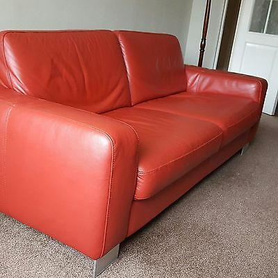 Red 3 Seater Leather Settee - S20