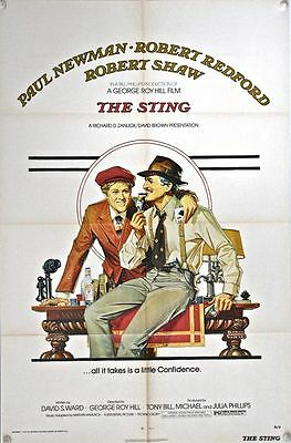 THE STING US One Sheet Film Poster (1974) Paul Newman & Robert Redford play con