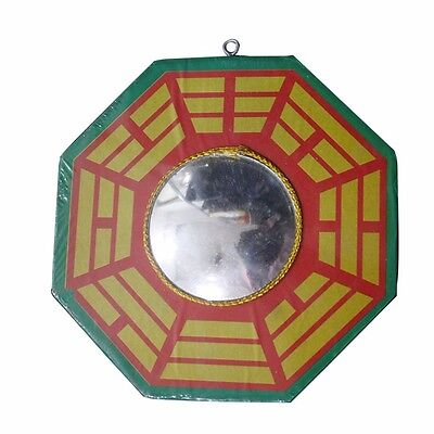 Feng Shui Bagua Mirror Small 5 Inches Wooden - Protects from Negative Energy